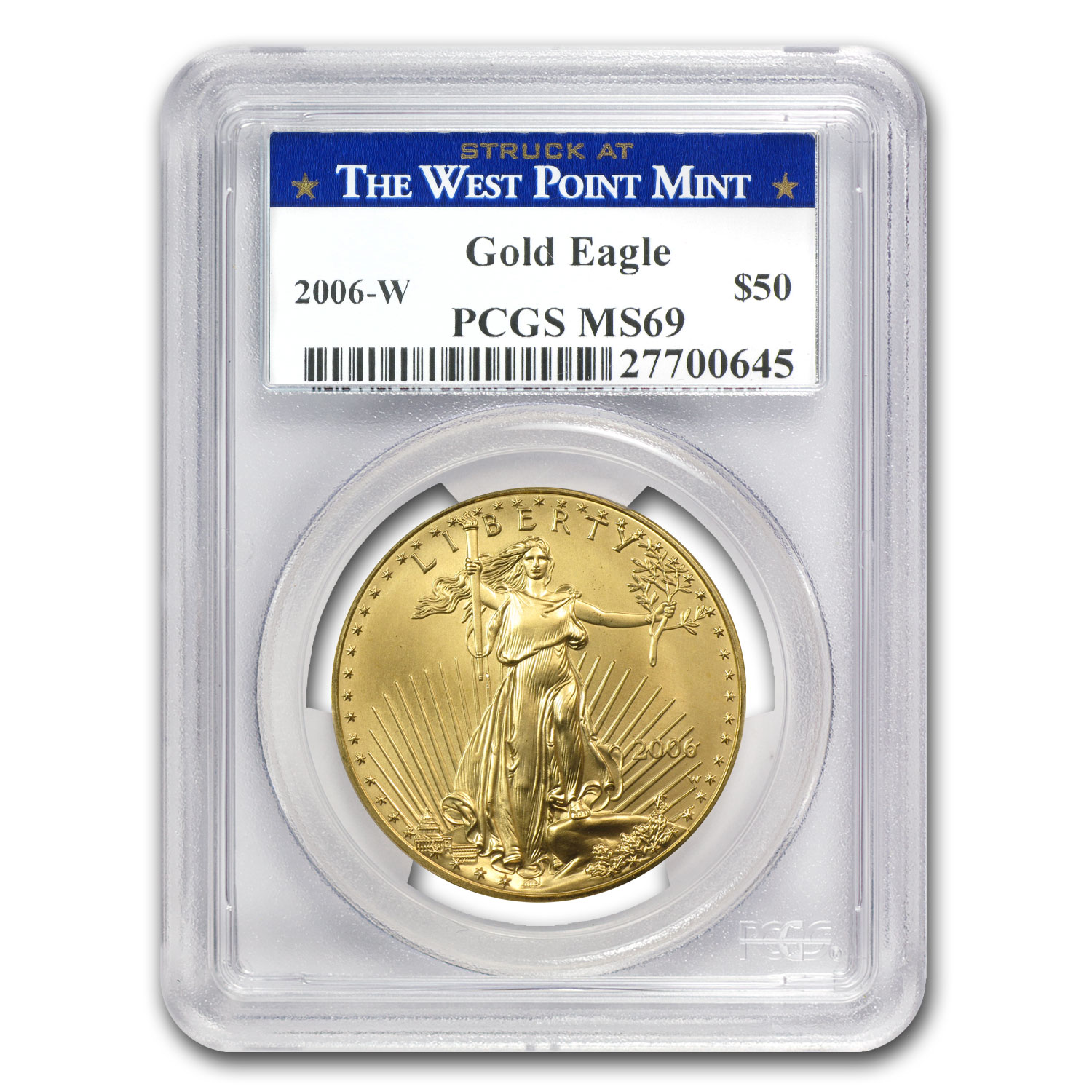 2006-W 1 oz Burnished Gold Eagle MS-69 PCGS (West Point Label)